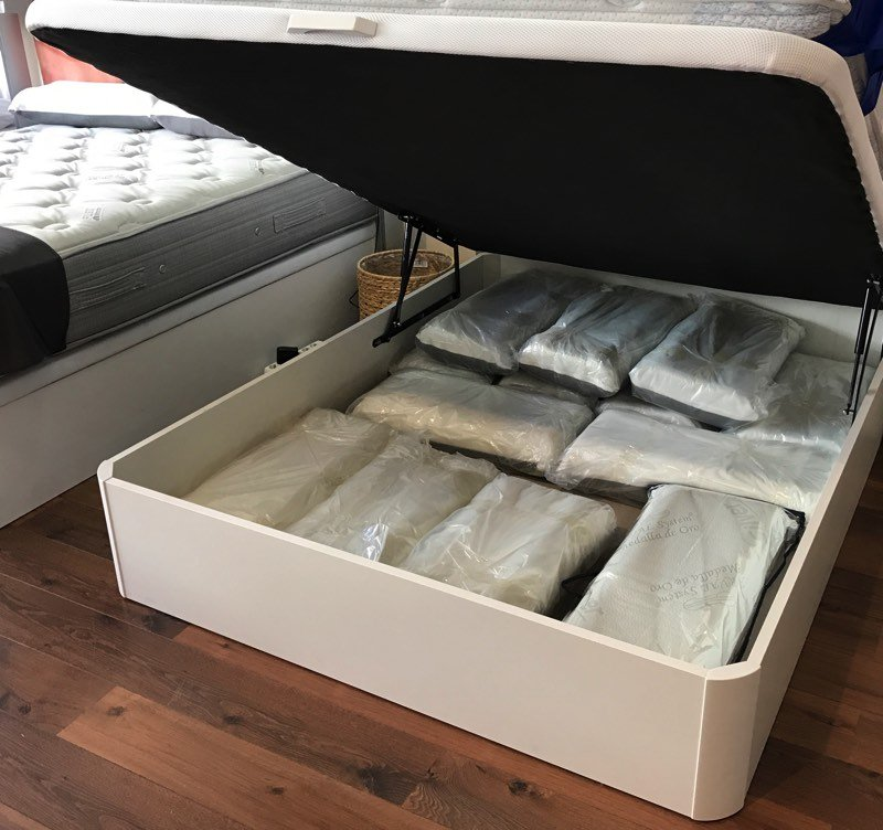 Pack colch n flex multi visco gel canap madera blanco for Colchon flex nube visco gel