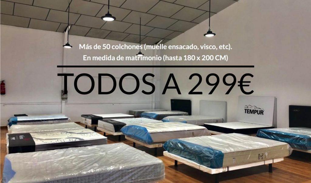 Oferta colchones matrimonio en Outlet Casa Toledo. 299€ unidad. Cualquier medida